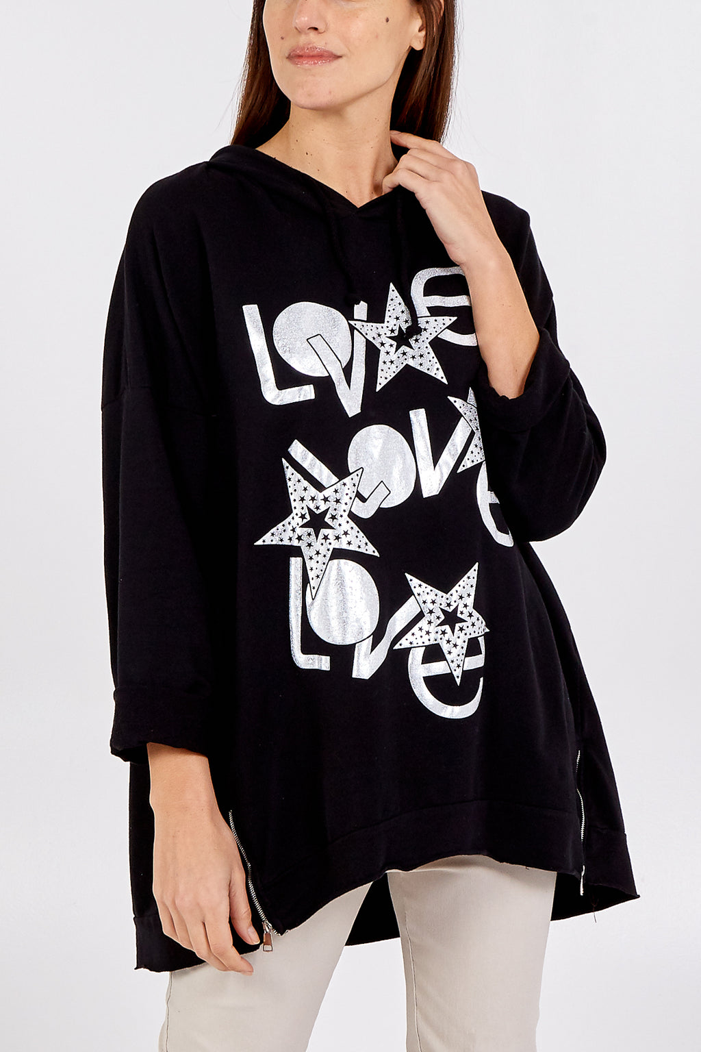 """LOVE"" Star Zip Detail Hooded Sweatshirt"