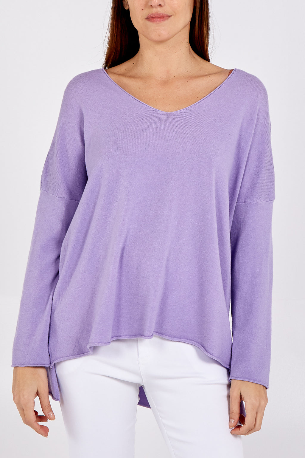 Light Knit High Low V Neck Jumper