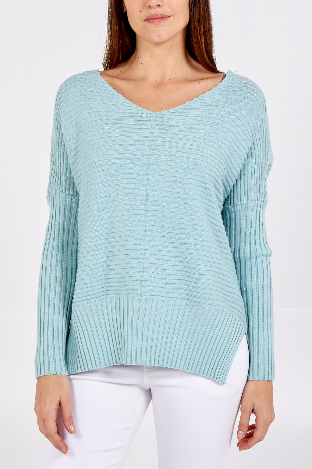 Ribbed Batwing Side Slit V-Neck Jumper