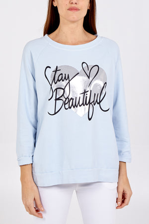 """Stay Beautiful"" Heart Sweatshirt"