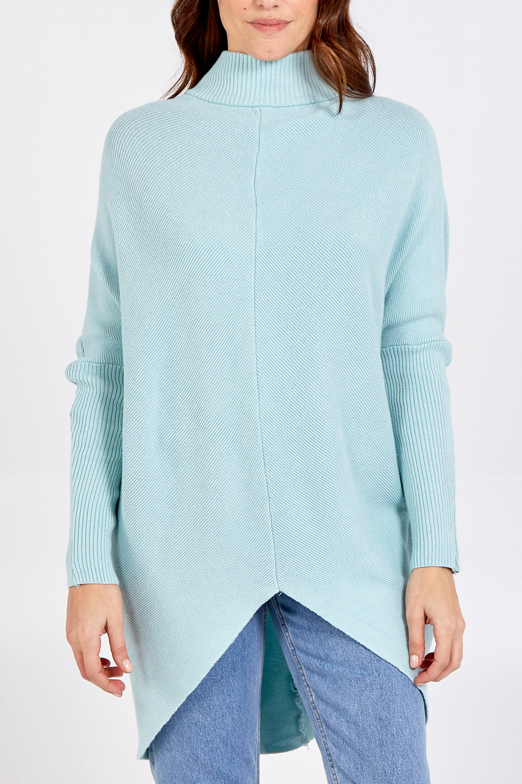 Long High Low Turtle Neck Jumper