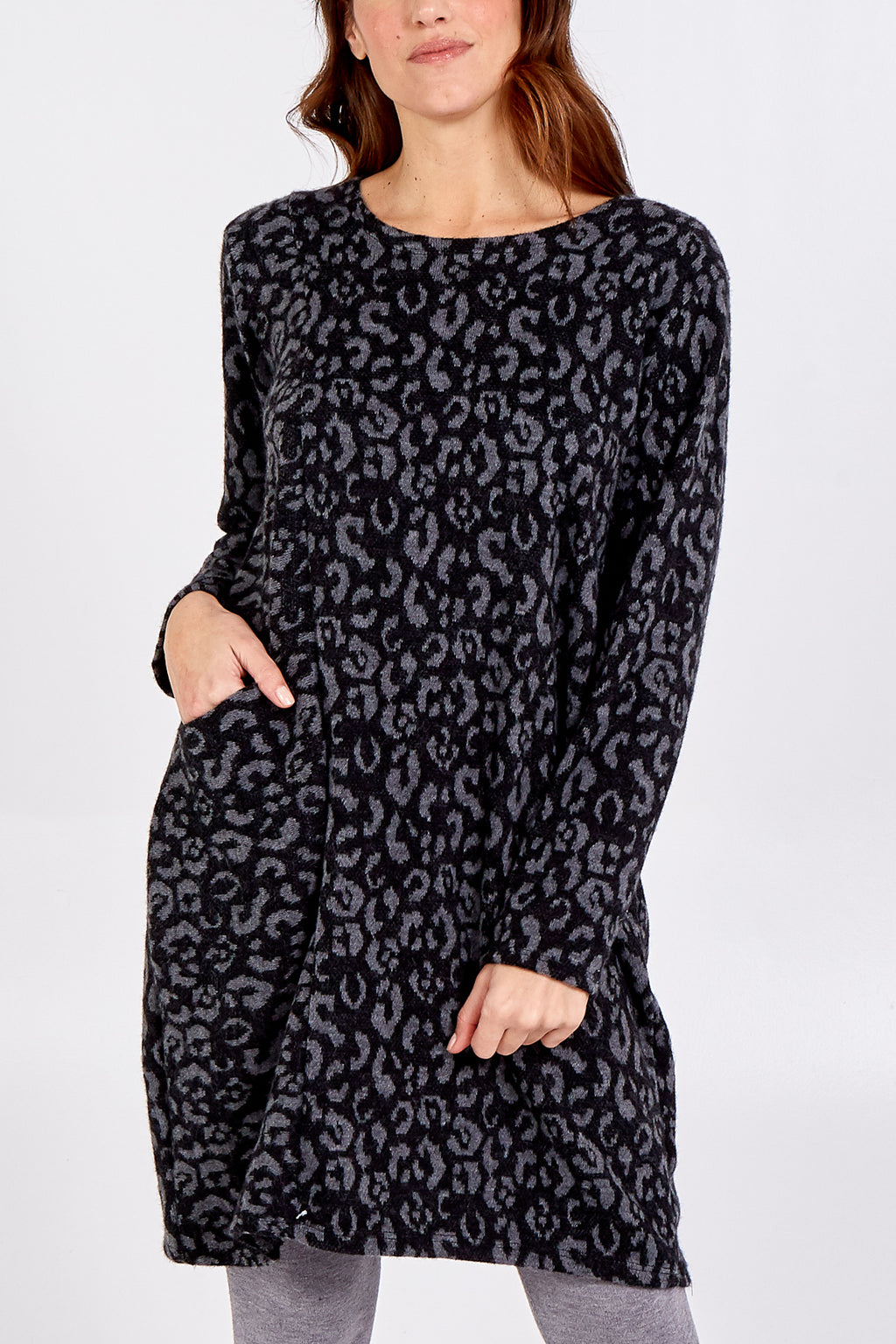 Leopard Print Jumper Dress With Front Pockets