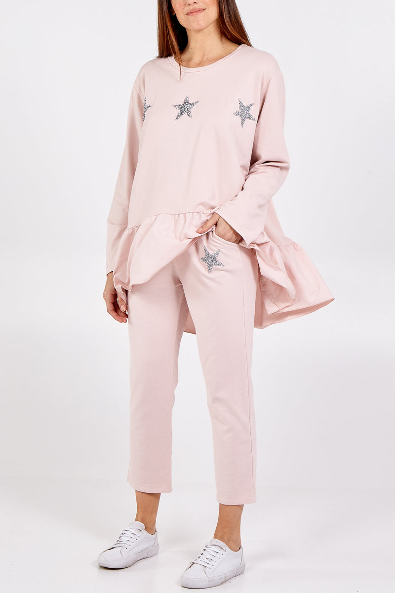 Asymmetrical Frill Hem Glitter Star Lounge wear Set