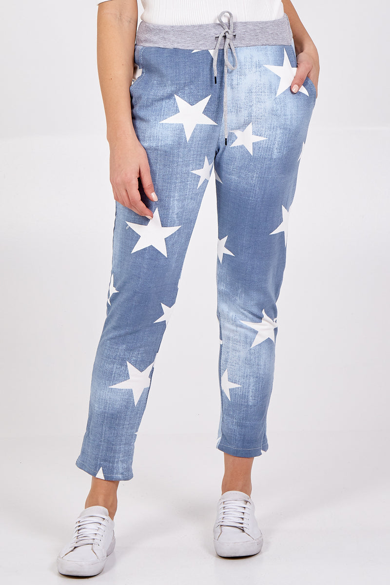Denim Star Print Joggers