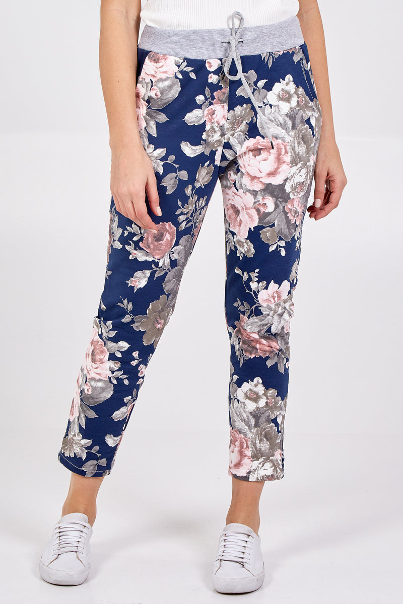 Large Rose Flower Print Joggers