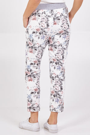 Small Rose Flower Print Joggers