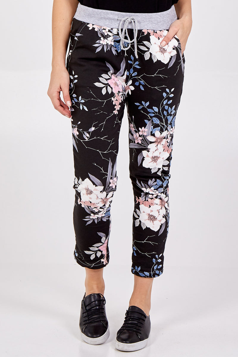 Tropical Flower Print Joggers