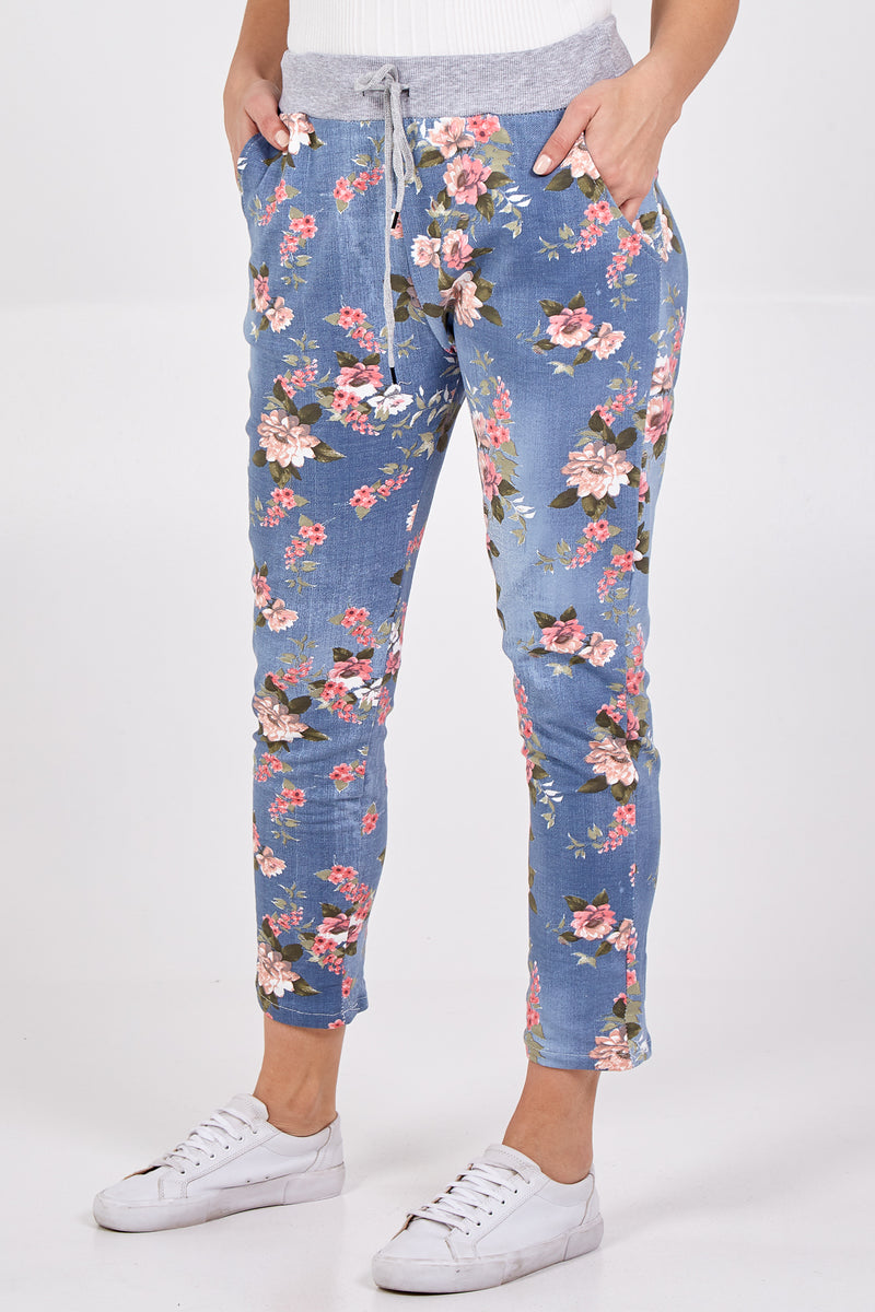 Mix Daisy Flower Print Joggers