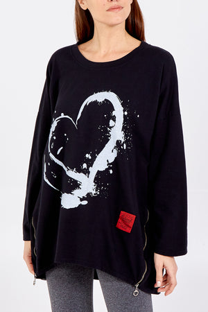 Splash Heart Sweatshirt & Side Zip
