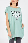 High Low Short Sleeve Flower Heart Top