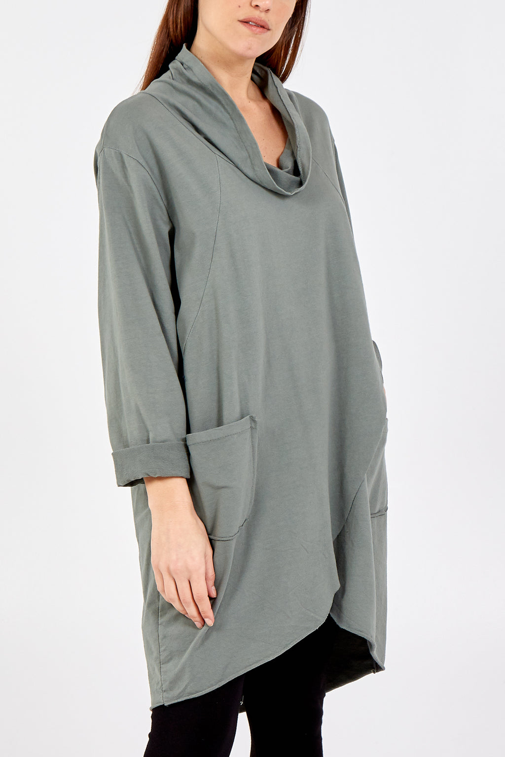 Cowl Neck High Low Top With Pockets