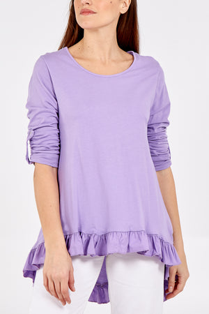 Ruffle Hem Long Sleeve High Low Top