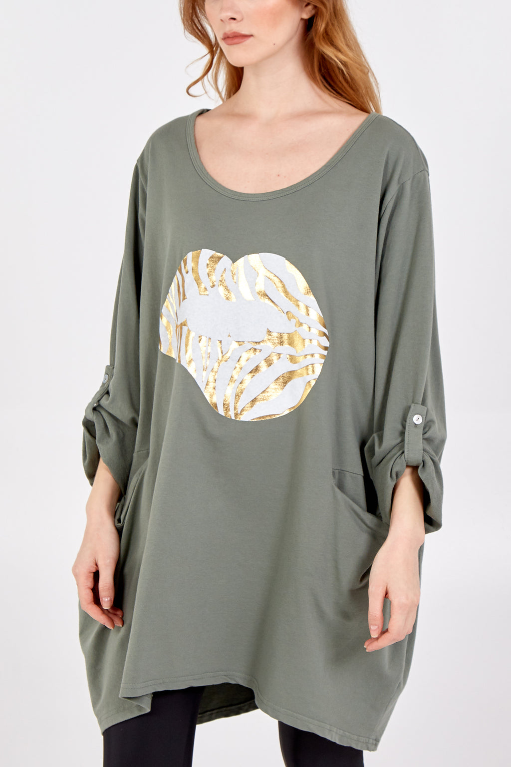 Zebra Pattern Gold Lips Turn Up Button Top
