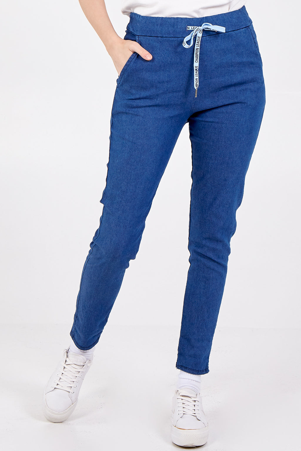 "Denim ""Champion League"" Drawstring Detail Trousers"