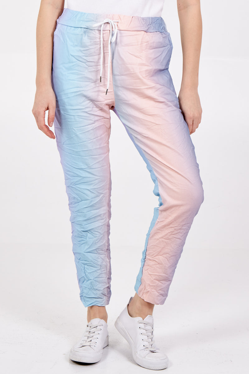 Magic Tie Dye Mixed Striped Trousers