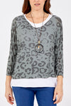 Leopard Print 2 in 1 Top With Necklace