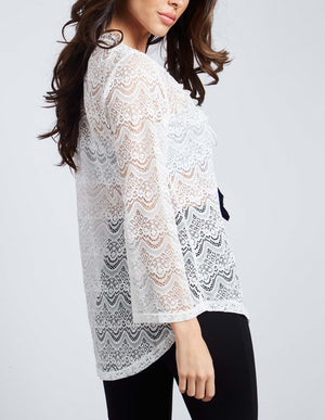 Feather Tie Front Lace Tunic