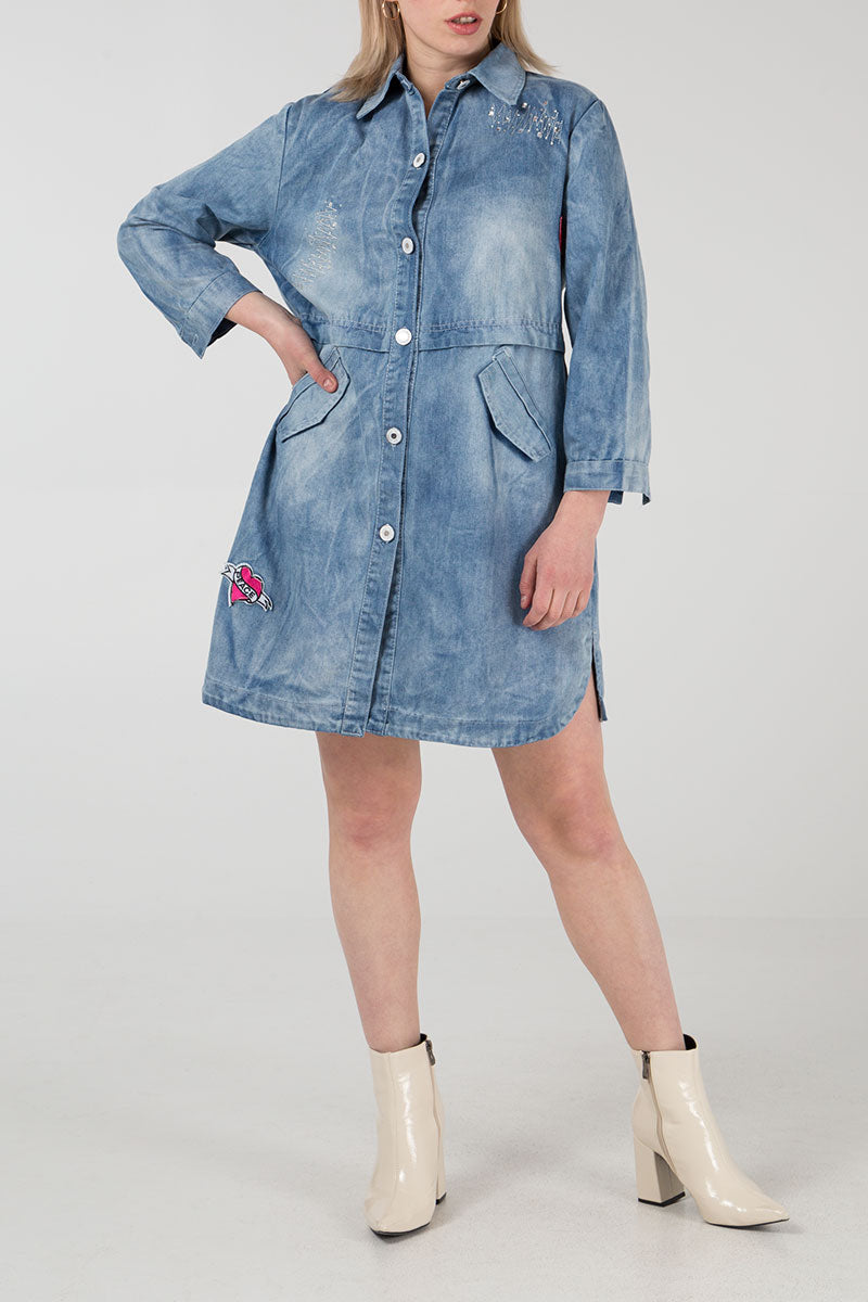 Badge Sequin Long Denim Jacket