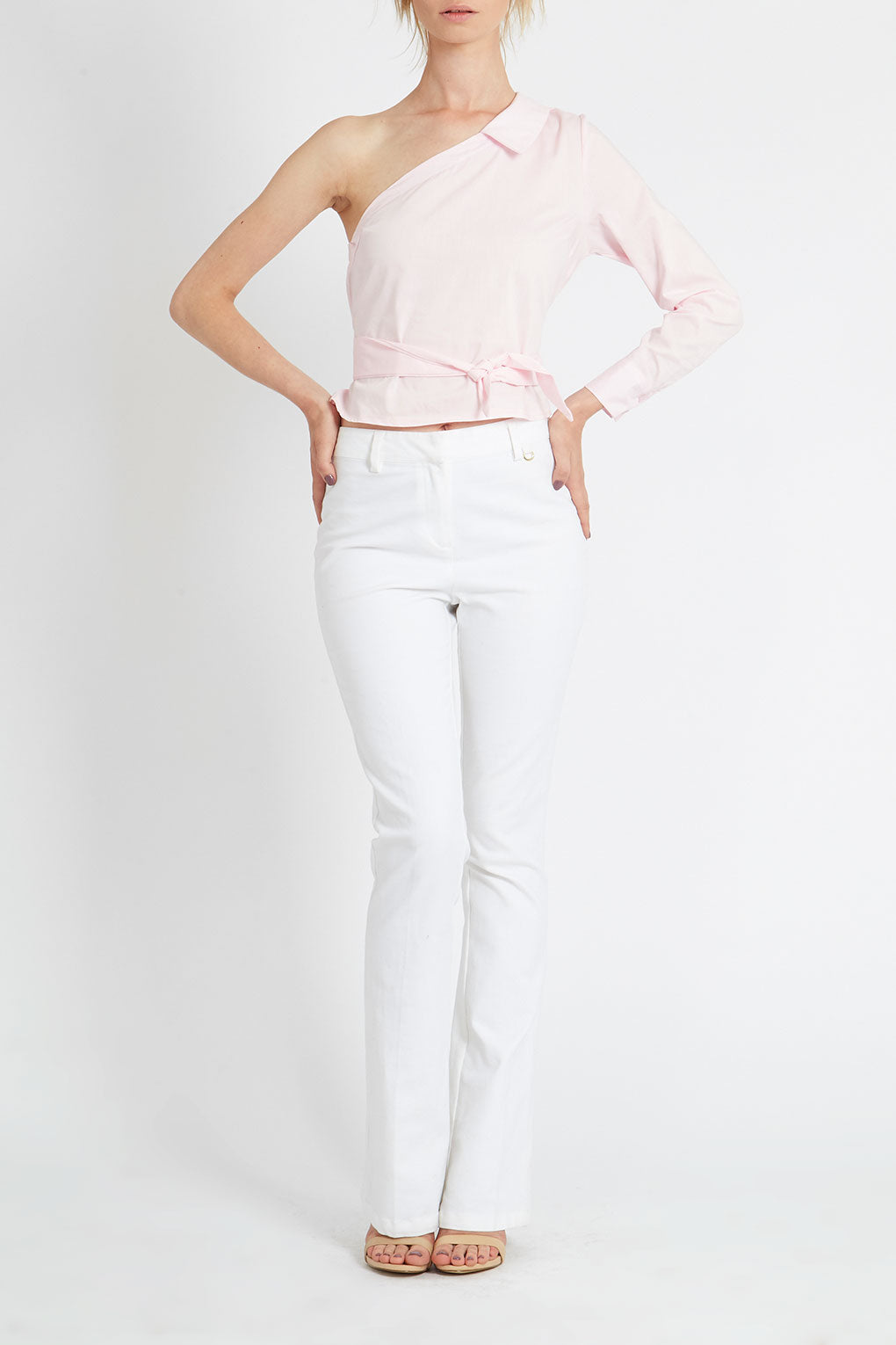 Belted One Sleeve Asymmetric Shirt