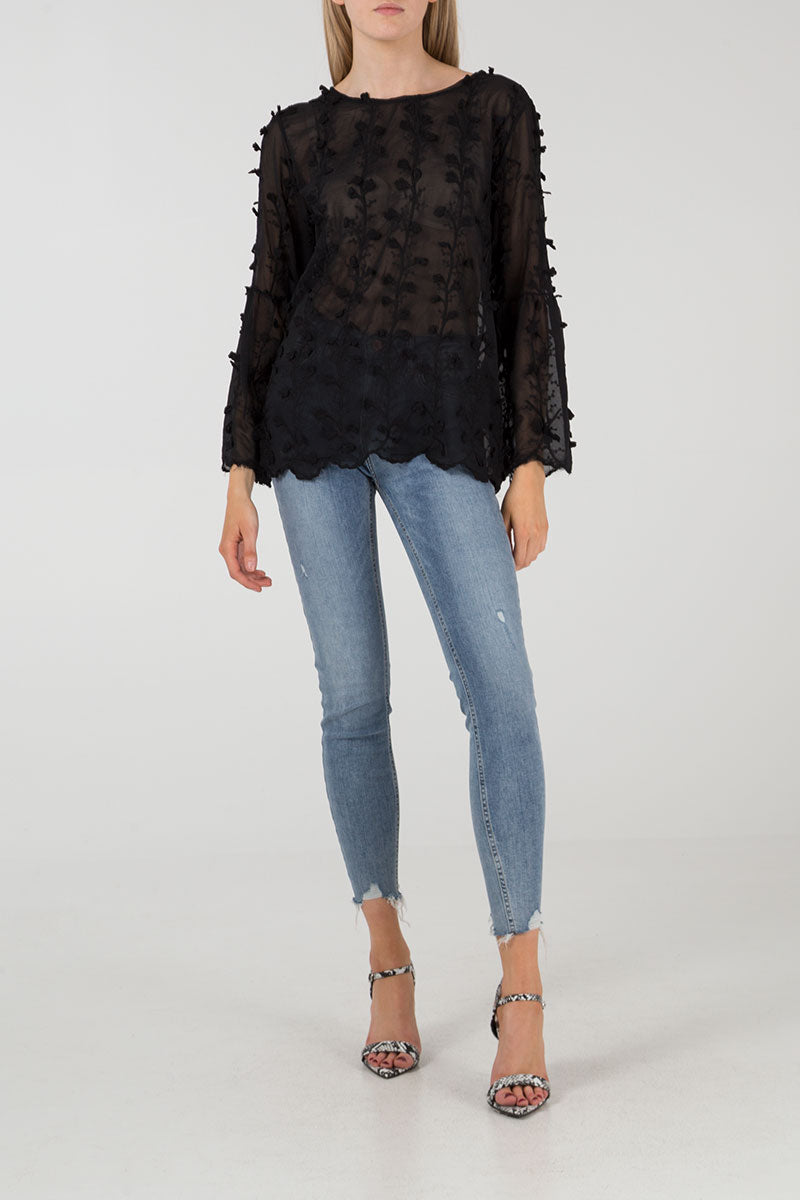 Bell Sleeve Embroidery Top