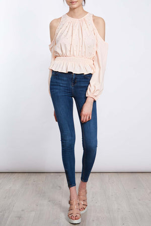 Cold Shoulder Scattered Pearl Top
