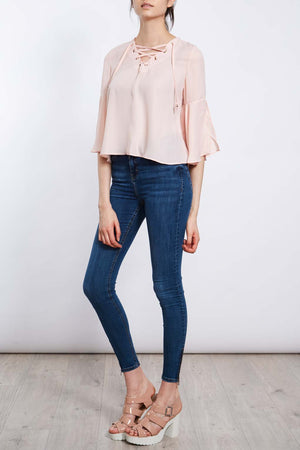 Frill Sleeve Tie V Neck Top