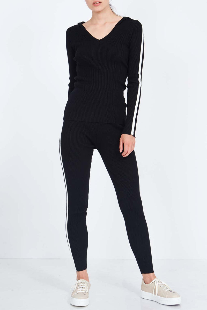 V Neck Hooded Top And Trousers Set