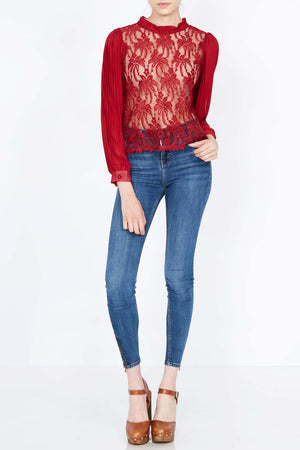 Bishop Sleeve High Neck Lace Top