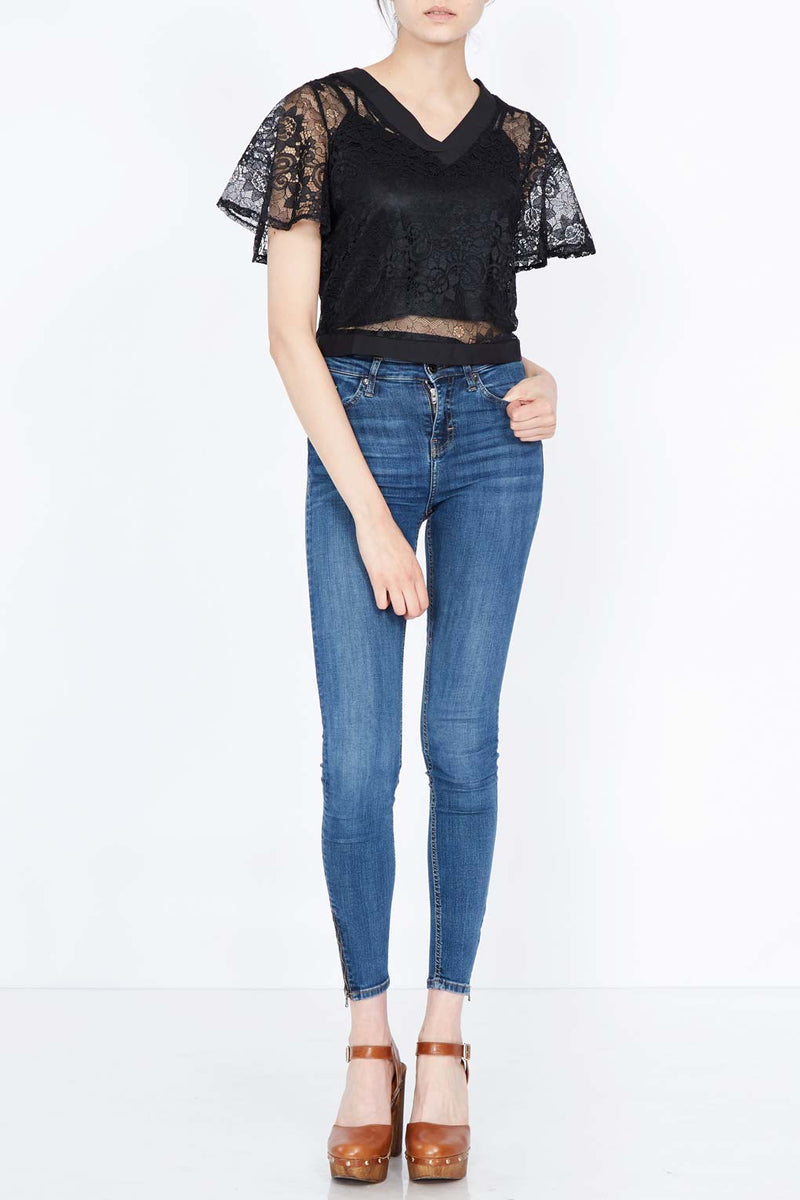 V Neck Cape Sleeve Lace Top