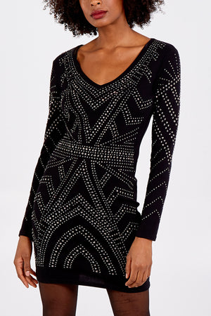 V Neck Full Embellished dress