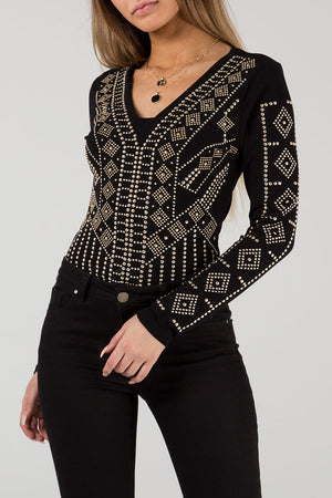V Neck Full Embellished Bodysuit