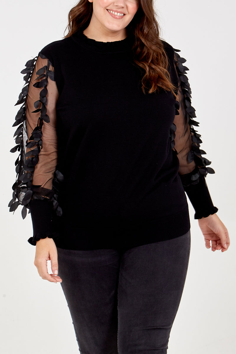 Curve Leaf Mesh Sleeve High Neck Jumper