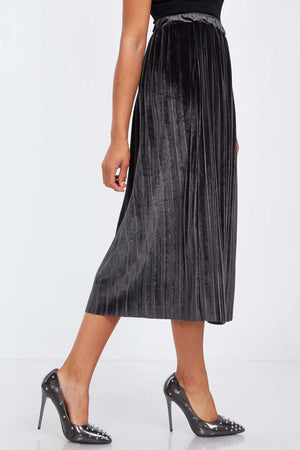 Velour Pleat Midi Skirt