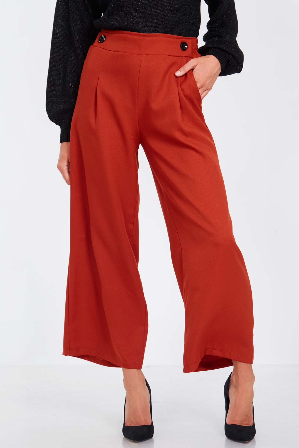 Button Front Palazzo Trousers