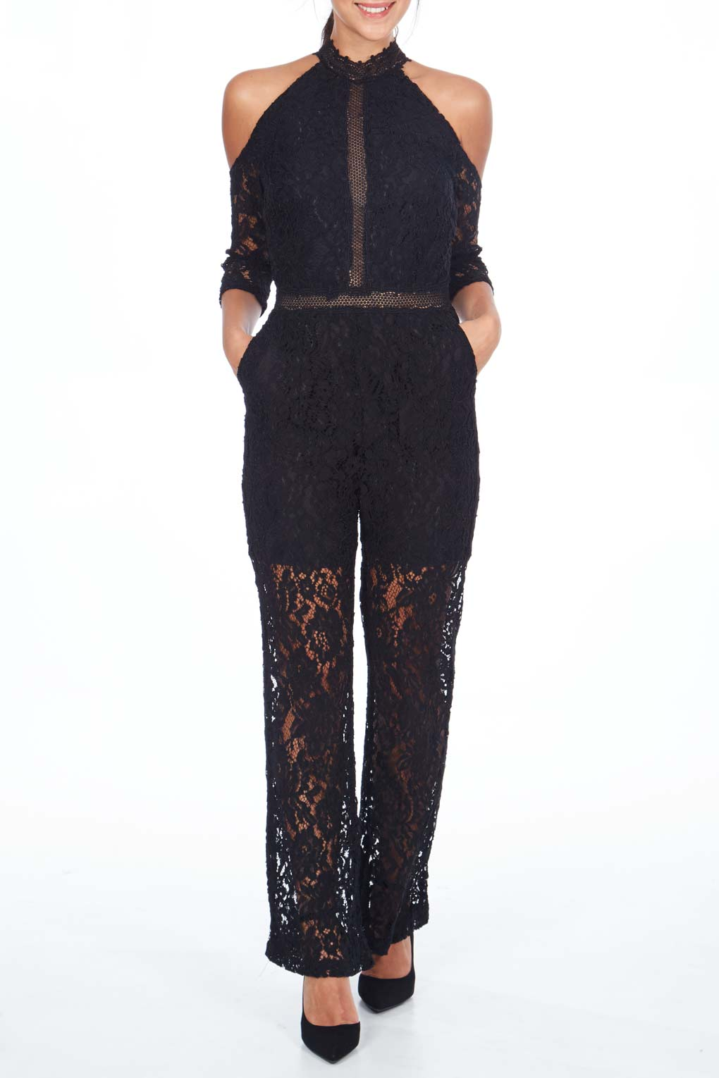 Cold Shoulder All Lace Jumpsuit