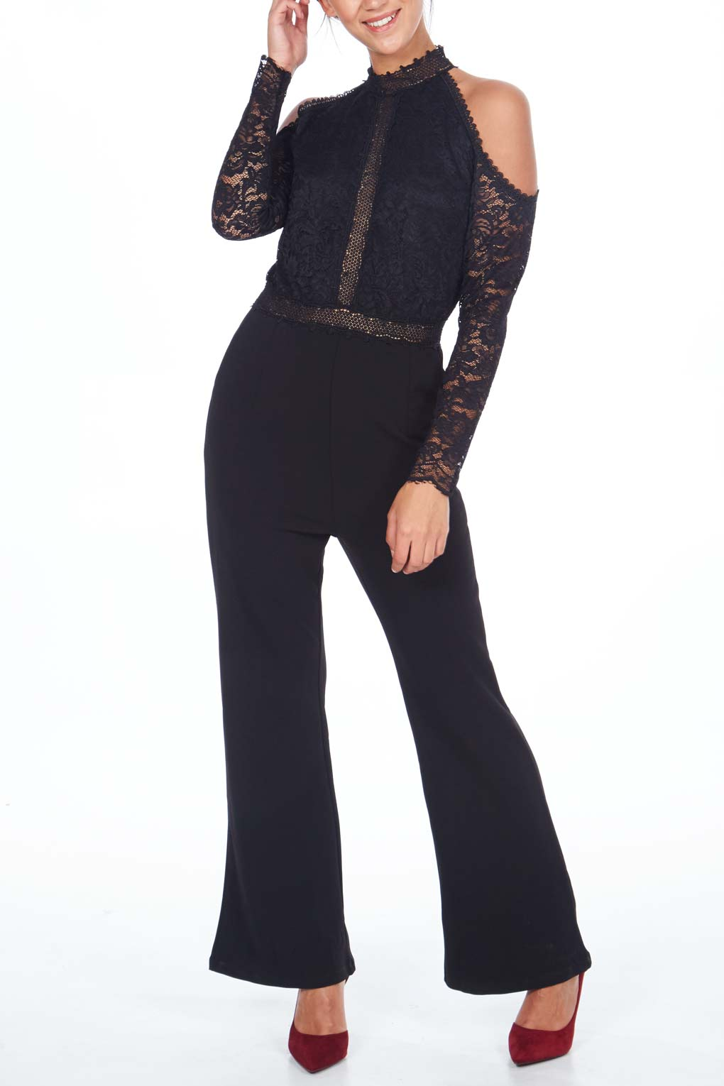 Cold Shoulder Lace Top Jumpsuit