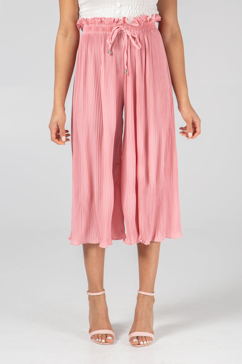 Pleated 3/4 Length Trousers