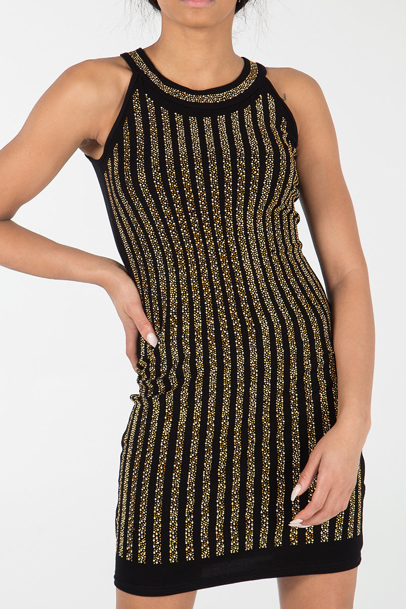 Diamond Vertical Stripe Racer Neck Bodycon Dress