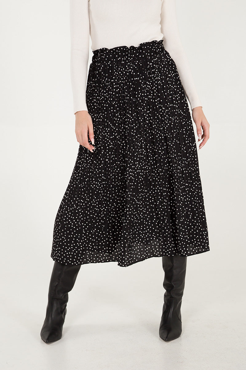 Ditsy Polka Dot Pleated Skirt