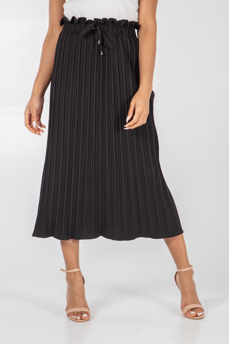 Paper Waist Pleated Midi Skirt