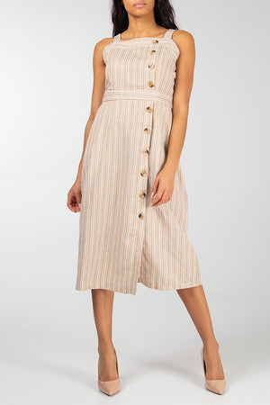 Stripe Button Tie Waist Dress