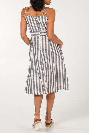 Stripe Cross Over Button Front Dress