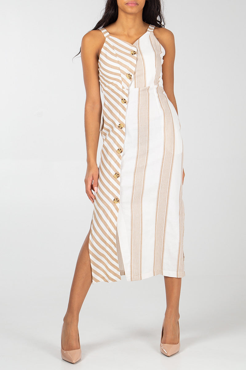 Asymmetric Button Front Mix Stripe Dress