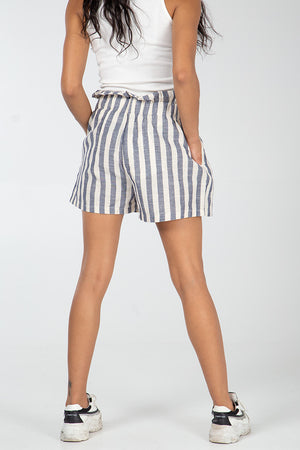 Paper Bag Textured Striped Short