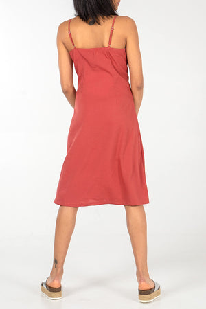 V Front Button Tru Midi Dress