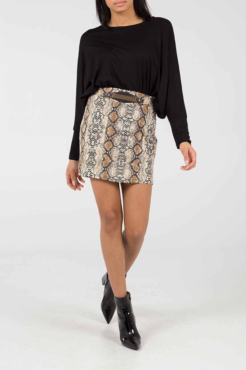 Mini Snakeskin Skirt