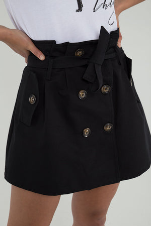 Paper Bag Waist Button Skirt