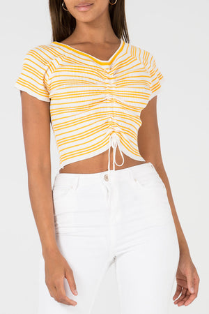 Rib Ruched Tie Front Stripe Top