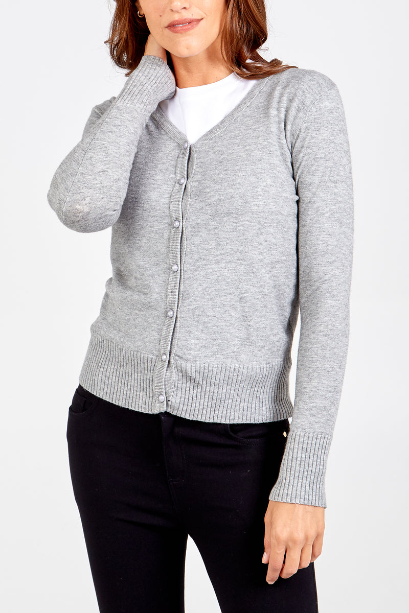 V Neck Pearl Button Cardigan