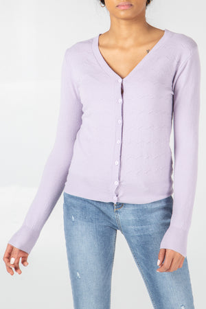 V Neck Wave Stitch button Up Cardigan